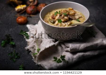 Pilz Speck Essen Abendessen Mittagessen Stock foto © zoryanchik