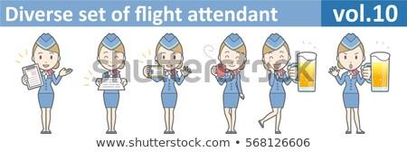 Cabina azul establecer mujeres animado apariencia Foto stock © toyotoyo