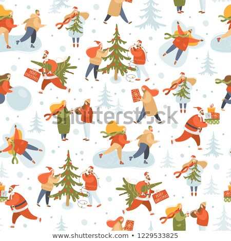 Stock photo: Christmas season seamless pattern people at park