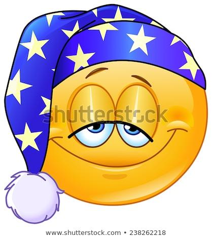 Goede nacht emoticon gezicht gelukkig ontwerp Stockfoto © yayayoyo