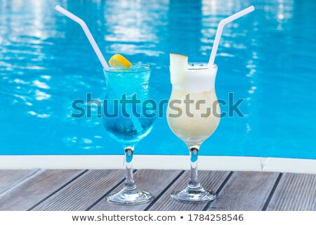 Stock photo: Blue Lagoon Refreshing Summer Drink with Two Straw