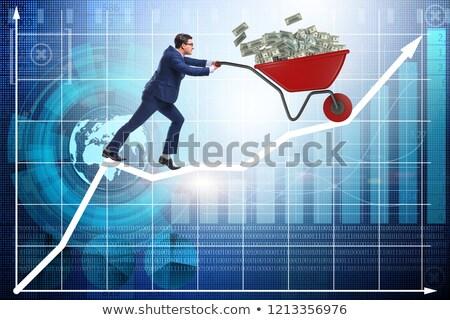 Stockfoto: Zakenman · voortvarend · kruiwagen · belasting · geld · berg