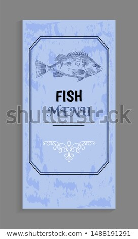 Fish Menu with Bass Depiction and Twirl Decoration Stock photo © robuart