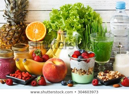 Stock fotó: Müzli · ananász · bogyók · tál · friss · egészséges