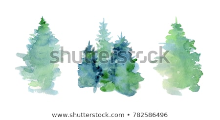 Vector Christmas Fir Tree with Blue Decorations stock photo © dashadima