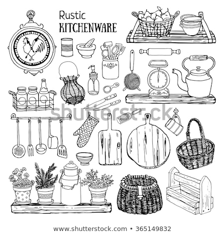 Sketch of a shelf with a kettle, cups and a cutting board. Vector illustration stock photo © Arkadivna