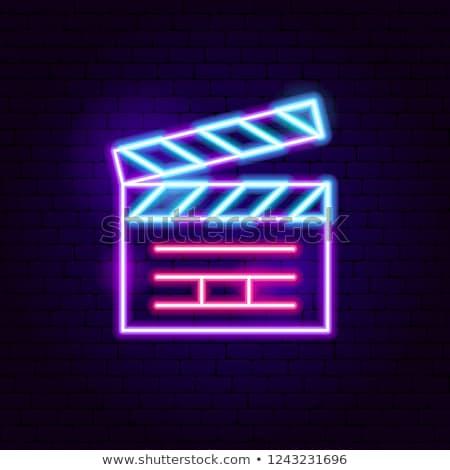 Film neon sinema tanıtım dizayn arka plan Stok fotoğraf © Anna_leni