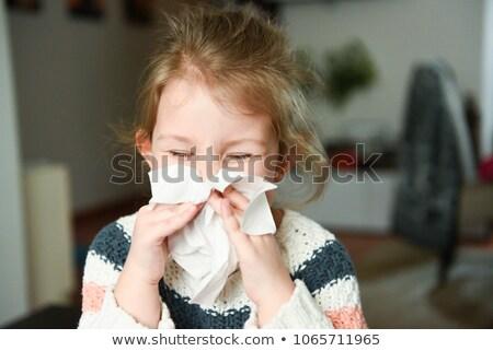 Lány orrot fúj zsebkendő szenvedés hideg ágy Stock fotó © AndreyPopov