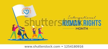 International Human Rights card of people parade Stock photo © cienpies