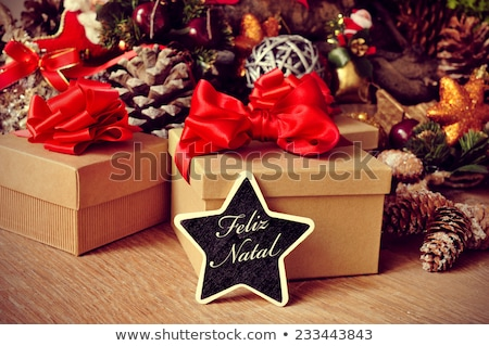 Red Christmas gift natal ribbon card in portuguese Stock photo © cienpies