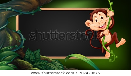 Grens sjabloon aap wijnstok illustratie bos Stockfoto © colematt