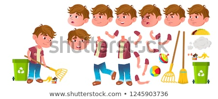 Stock photo: Boy Kindergarten Kid Vector. Animation Creation Set. Face Emotions, Gestures. Preschool, Childhood.