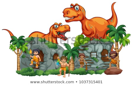 T-Rex and cavemen at stonehouse Stock photo © colematt