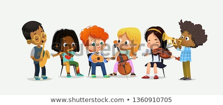 Lányok játszik hegedű cselló illusztráció gyermek Stock fotó © colematt