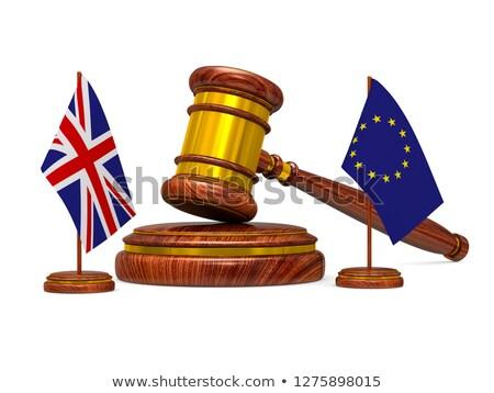 Vlag eu groot-brittannië houten hamer witte Stockfoto © ISerg