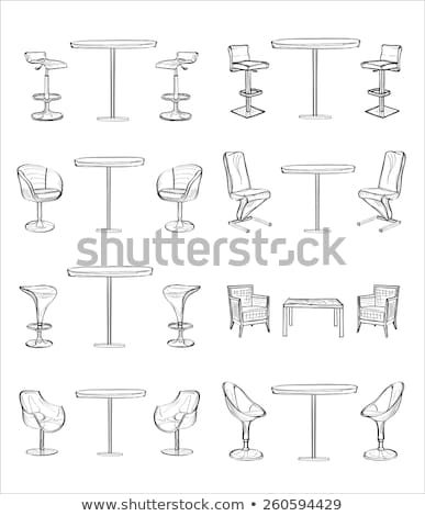 sketch of bar chairs high chair isolated on white background vector stock photo © arkadivna