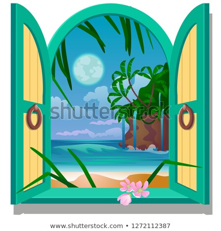 Opened frame window with a view of sandy beach of the sea coast by moonlight. Vector close-up cartoo Stock photo © Lady-Luck
