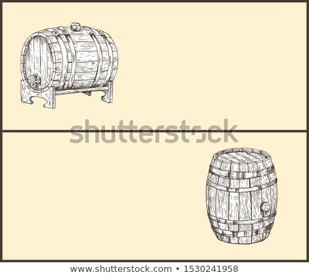 Foto stock: Grande · cerveja · madeira · barril · pequeno · pin