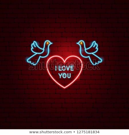 boldog · valentin · nap · szív · neon · címke · románc - stock fotó © anna_leni