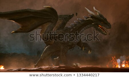 red dragon in fairy tale forest stock photo © colematt