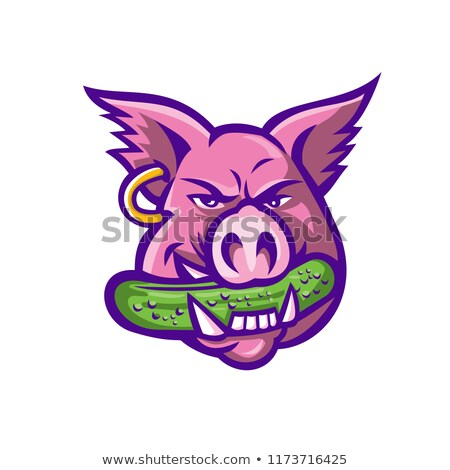 Pink Pig Biting Pickle Mascot Stock photo © patrimonio