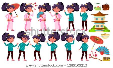 Asya kız çocuk ayarlamak vektör Stok fotoğraf © pikepicture