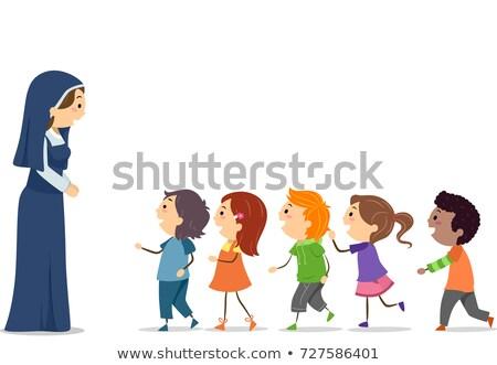 Stickman Kids Nun Uniform Line Girls Illustration Stock photo © lenm
