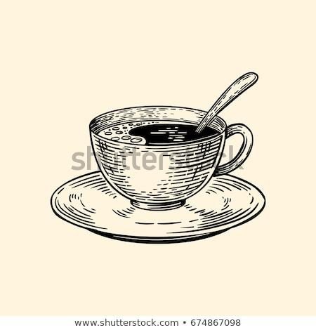 эскиз Кубок кофе блюдце стиль искусства Сток-фото © Arkadivna