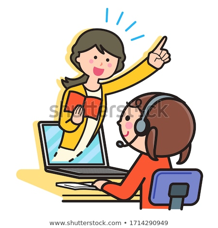 teacher and student with laptop in headset learning online vector illustration stock photo © rastudio