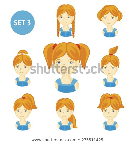 Set of braids hair character different color Stock photo © bluering