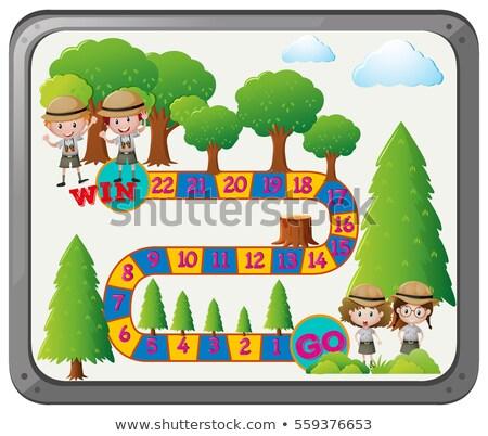 Spel sjabloon kinderen safari papier meisje Stockfoto © colematt