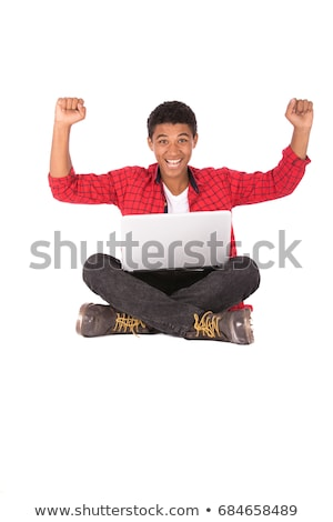 image of teen african american people wearing backpacks sitting stock photo © deandrobot