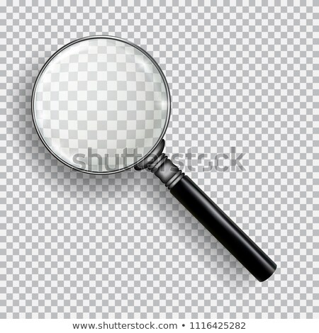 3D Realistic Magnifying Glass. Transparent loupe on plaid black white background. Stock photo © Fosin