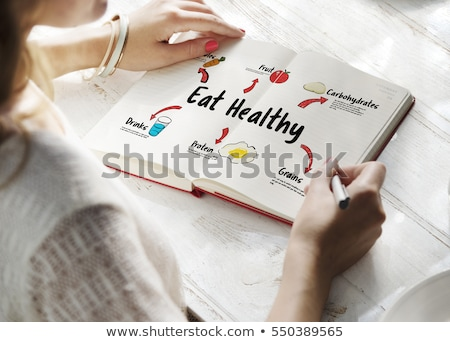 notebook with a diet plan with fresh vegetables and fruits and a Stock photo © mizar_21984