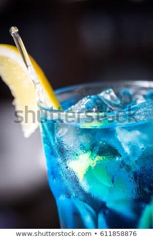 синий коктейли ломтик лимона соломы изолированный Сток-фото © dla4
