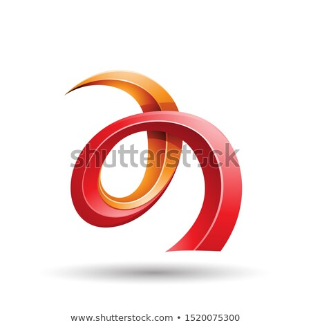 red and orange curled ivy like letter a icon stock photo © cidepix