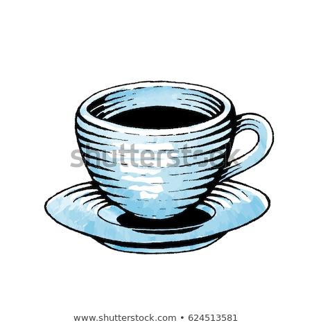 vektor · kávéscsésze · gravírozott · stílus · csészealj · szín - stock fotó © cidepix