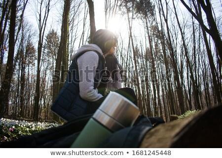 Hiker Taking a Rest on Log  Stock photo © colematt