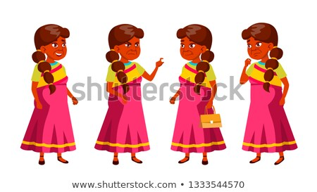 Indian Old Woman Poses Set Vector. Elderly People. Senior Person. Aged. Comic Pensioner. Lifestyle.  Stock photo © pikepicture