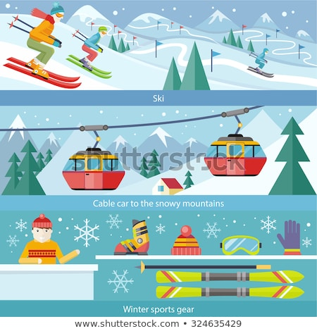 Skiing and Winter Seasonal Hobbies Set Vector Stock photo © robuart