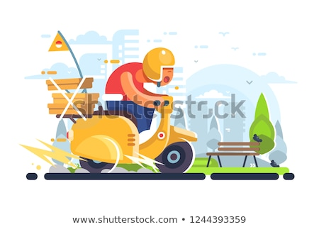 Foto stock: Man Courier Driving On Scooter