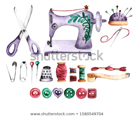 Stock photo: Pincushion with needles and pins isolated on white background. Set sewing studio or tailoring atelie