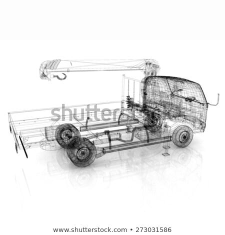 3D modelo trator roda wireframe branco Foto stock © magraphics