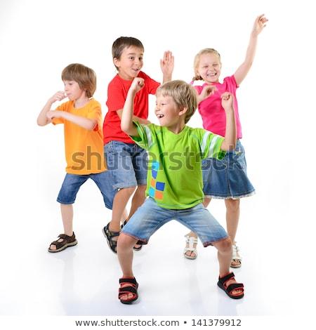 Stok fotoğraf: Grup · dans · gençlik · beyaz · pop · art