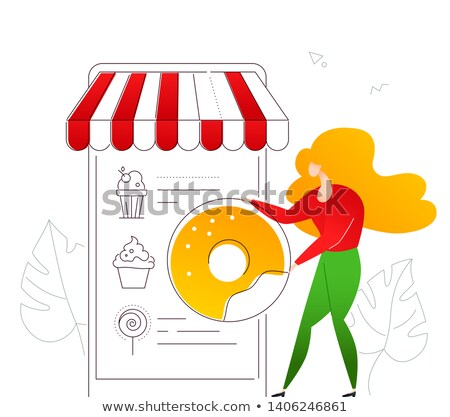 Ordering sweets online - modern flat design style colorful illustration Stock photo © Decorwithme