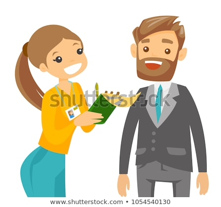 Stock photo: Cameraman Filming Journalist Interview Cartoon Vector Character