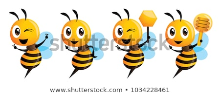 Cartoon cute bee mascot series. Cartoon cute bee pointing. vector illustration isolated stock photo © charactoon