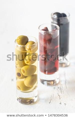 Assortiment trois espèce olives verres blanche Photo stock © Alex9500
