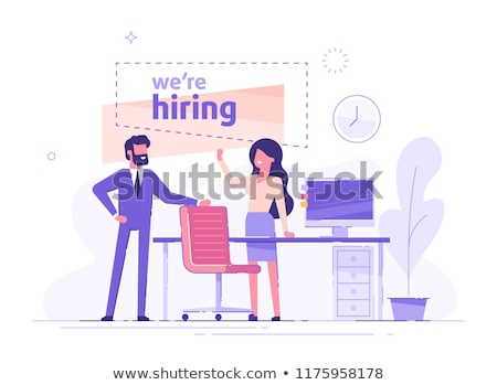 Job interview. Hiring new people for the job concept. Flat vector illustration Stock photo © makyzz