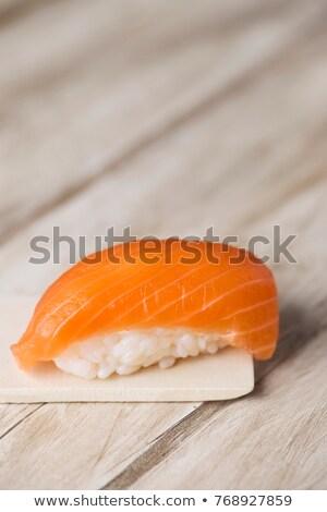 Stockfoto: Zalm · sushi · houten · rustiek · houten · tafel